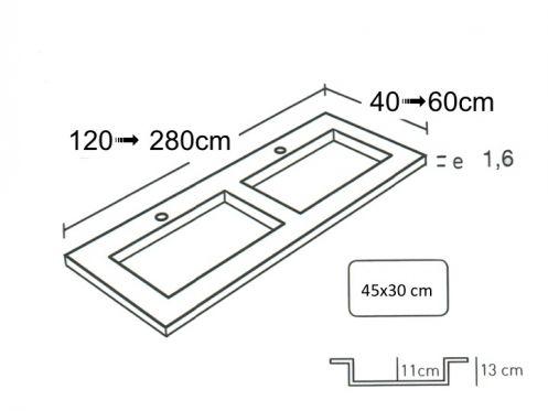 double vasque sur mesure stil 4530. Black Bedroom Furniture Sets. Home Design Ideas