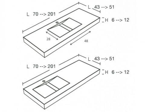 plan de vasque sur mesure senda lisso. Black Bedroom Furniture Sets. Home Design Ideas