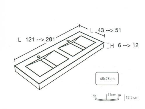 plan de vasque sur mesure senda double. Black Bedroom Furniture Sets. Home Design Ideas