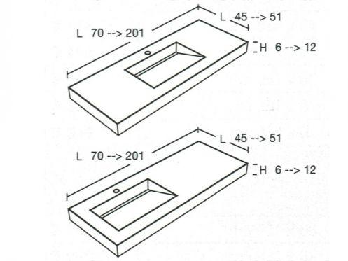 plan de vasque sur mesure style lisso. Black Bedroom Furniture Sets. Home Design Ideas