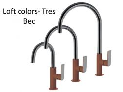 Robinet Mitigeur lavabo bec, loft colors tres, finition Marron