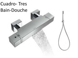 Robinetterie Bain-douche thermostatique CUADRO-tres, avec bec cascade, finition chrome