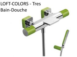 Robinetterie Bain-douche LOFT-COLORS thermostatique; avec cascade. Douchette anticalcaire. Flexible satin