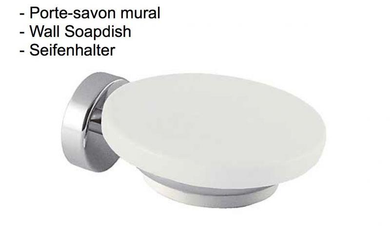 Meubles lave mains robinetteries accessoires sdb porte savon mural finition chrome cub tres - Porte savon mural carrelage ...