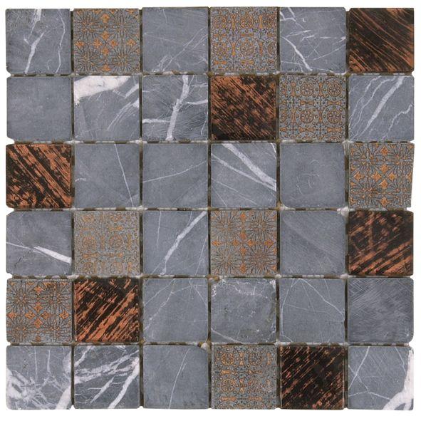 mami26 mosaique grise plus verre marron. Black Bedroom Furniture Sets. Home Design Ideas