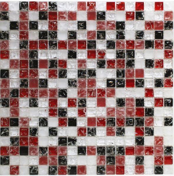 Mosa ques marbre galets et frises mosa ques cra017 verre craquel mosai - Salle de bain rouge et noir ...