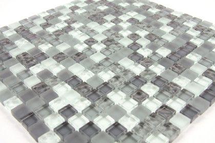 Paves briques de verres mosa ques et galets verre gris for Pose de mosaique de verre