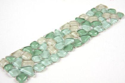 Paves briques de verres mosa ques et galets micro palladania vert frise ou listel mosa que - Salle de bain frise mosaique ...