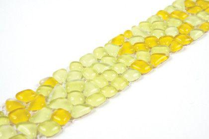 Paves briques de verres mosa ques et galets micro for Carrelage jaune