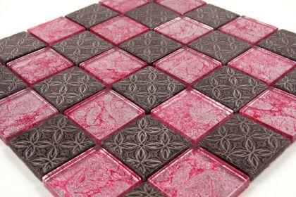 Paves briques de verres mosa ques et galets gold leaf for Carrelage mosaique rose