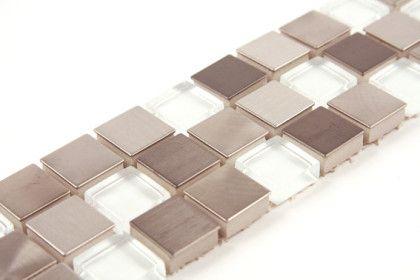Paves briques de verres mosa ques et galets inox verre - Listel carrelage salle de bain ...