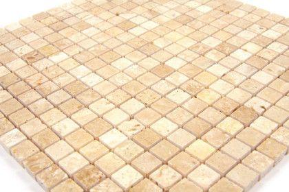 Paves briques de verres mosa ques et galets travertin for Carrelage 30x30 beige