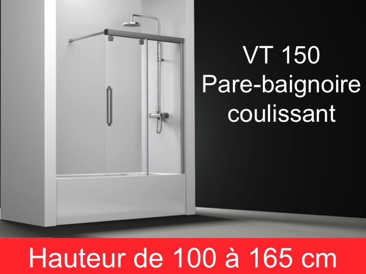 parois de douche largeur 160 pare baignoire coulissant 160 cm fixation droite hauteur de. Black Bedroom Furniture Sets. Home Design Ideas