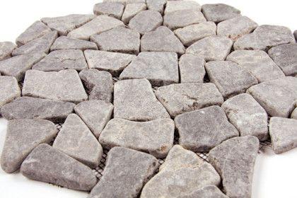 Paves briques de verres mosa ques et galets palladania for Carrelage salle de bain gris galet