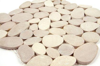 Galets rectifi s mosa que beige mat inter - Mosaique adhesive pour salle de bain ...