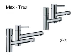 Robinet Mitigeur lavabo; bec long: finition chrome, tige 45, max-tres