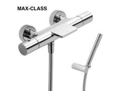 Robinetterie Bain-douche thermostatique MAX-CLASS, avec cascade. Douchette anticalcaire et flexible satin, finition chrome