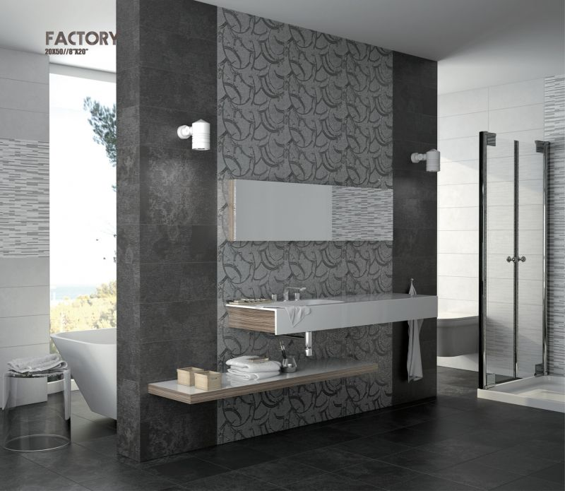 carrelage sol salle de bain cuisine et terrasse d cors mural factory largeur 50 cm gris. Black Bedroom Furniture Sets. Home Design Ideas