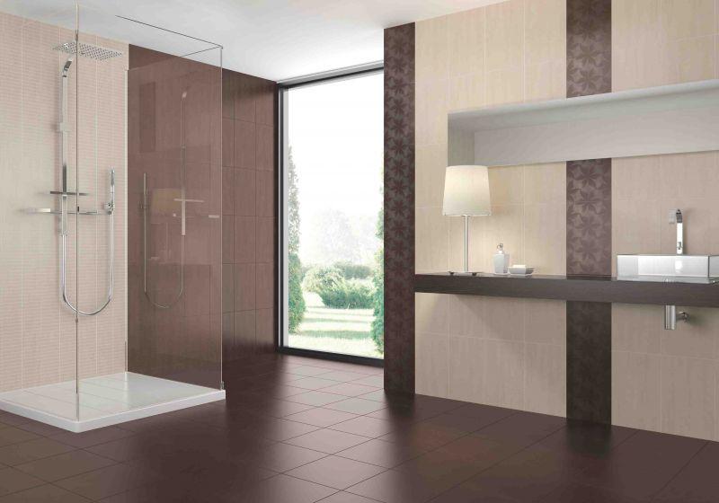 Salle de bain taupe et beige for Faience salle de bain marron et beige