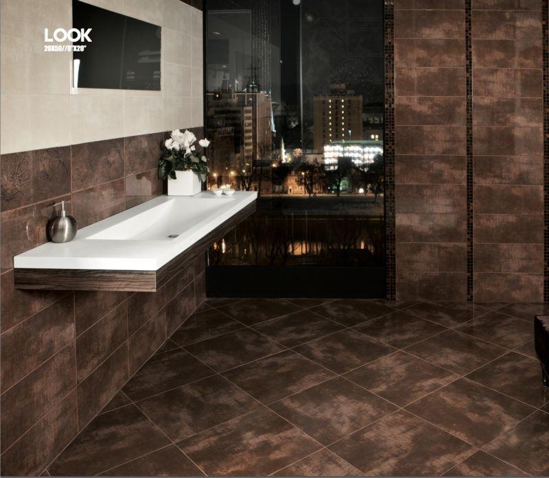 Carrelage sol salle de bain cuisine et terrasse mural look chocolate 20x5 - Carrelage salle de bain chocolat ...