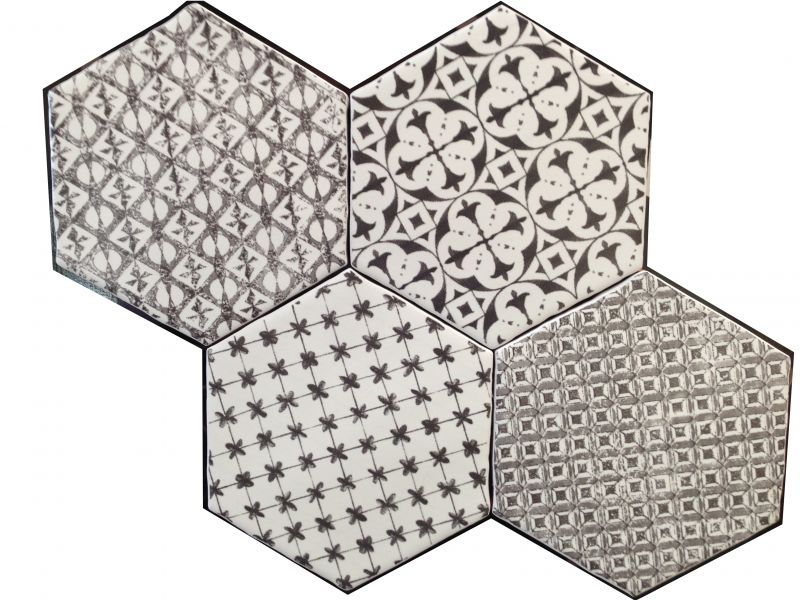 carrelages mosa ques et galets cuisine mural hexagon marrakech negro mosaico 15x15 cm. Black Bedroom Furniture Sets. Home Design Ideas