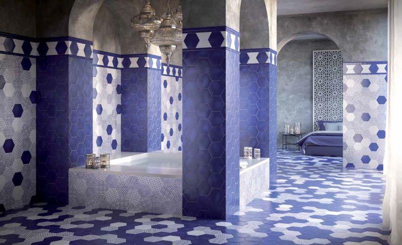 carrelages mosa ques et galets cuisine mural hexagon marrakech azul mate cm carrelage. Black Bedroom Furniture Sets. Home Design Ideas