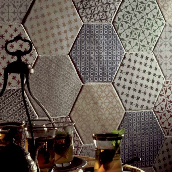 Carrelages mosa ques et galets cuisine mural hexagon for Carrelage hexagonal cuisine
