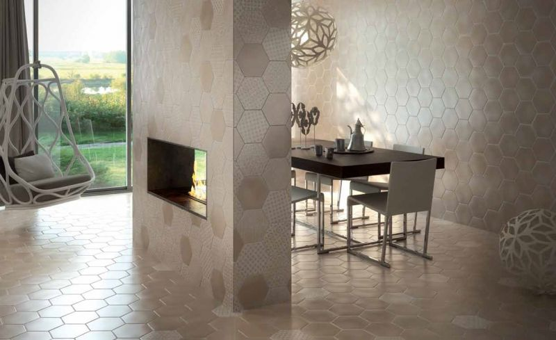 carrelages mosa ques et galets cuisine mural hexagon marrakech beige mate cm carrelage. Black Bedroom Furniture Sets. Home Design Ideas