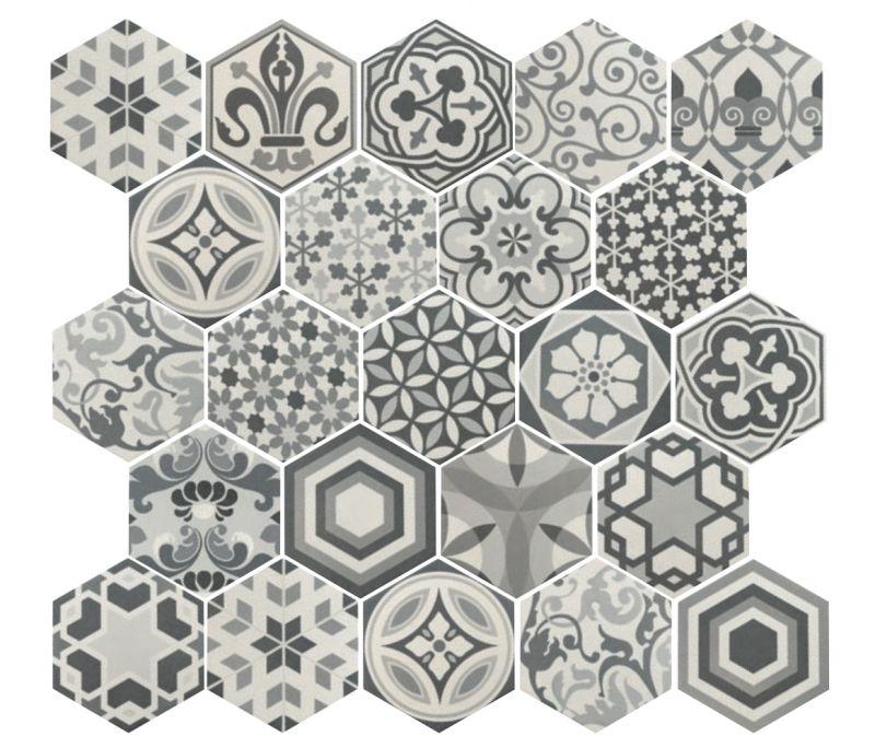 Art Deco 2 Hexagonal B&W 17,5x20 - Carrelage de sol hexagonal ...