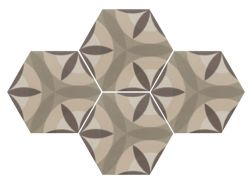 Art Deco 7 octogonal Cream 17,5x20 - Carrelage de sol hexagonal,  imitation carreaux de ciment, grès Cérame.