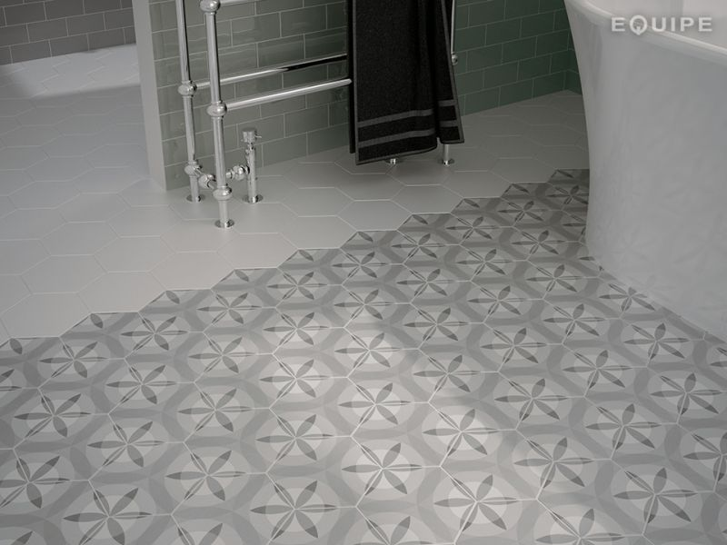 Carrelages mosa ques et galets hexagonale sol art deco for Carrelage gres imitation carreaux ciment
