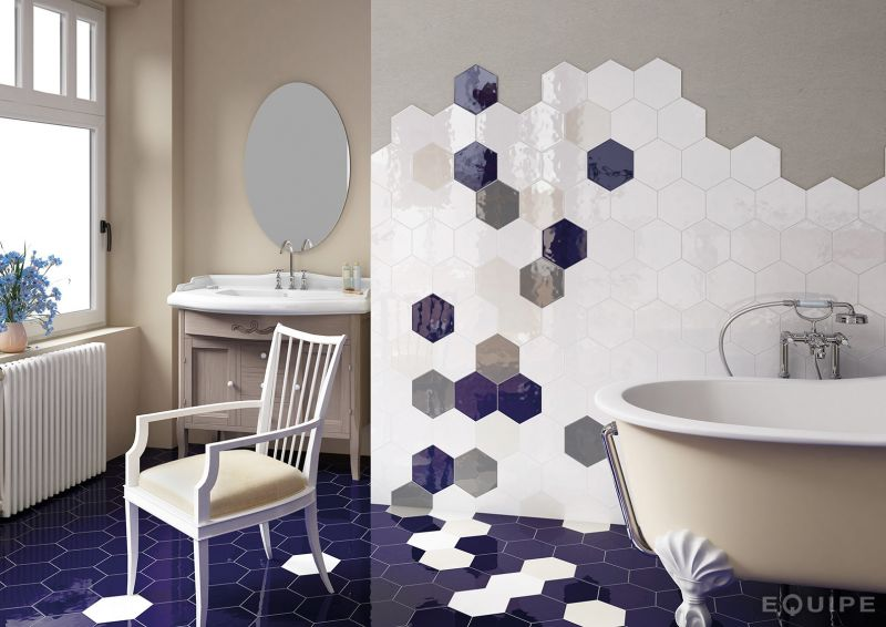 Carrelage sol et mur c ciment imitation hexagonal gris for Carreaux gris salle de bain