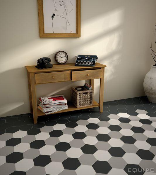 Carrelage sol et mur c ciment imitation hexagonal gris for Carrelage gres cerame imitation carreau de ciment