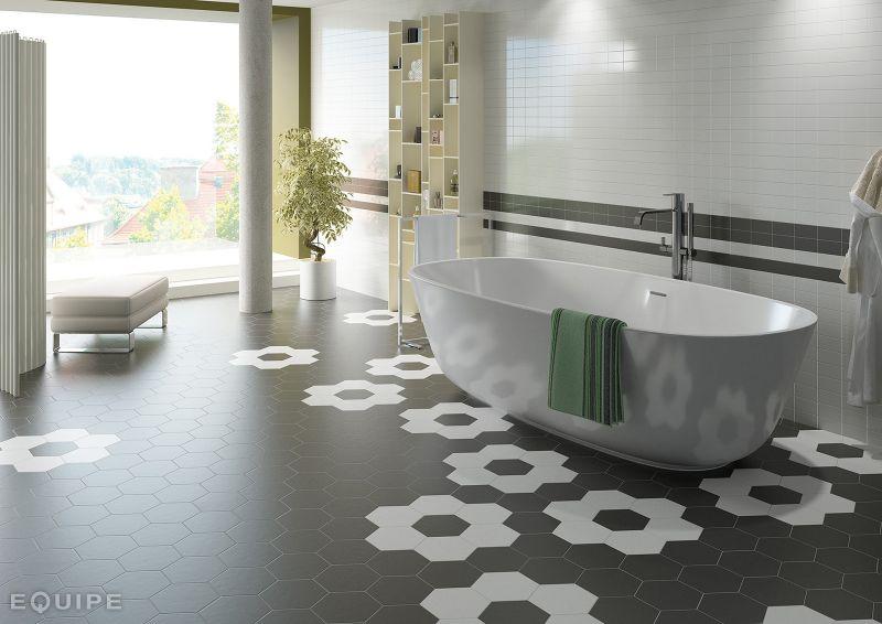 Carrelage sol et mur c ciment imitation hexagonal gris for Carrelage hexagonal couleur