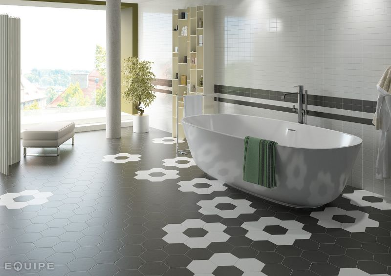 Carrelage sol et mur c ciment imitation hexagonal gris for Carrelage hexagonal sol