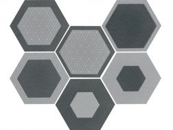 Art Deco 3 Hexagonal Mate 17,5x20 - Carrelage de sol hexagonal,  imitation carreaux de ciment, grès Cérame.