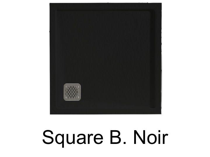 Receveur De Douche Carre Evacuation En Angle Square Q4 Noir 80x80