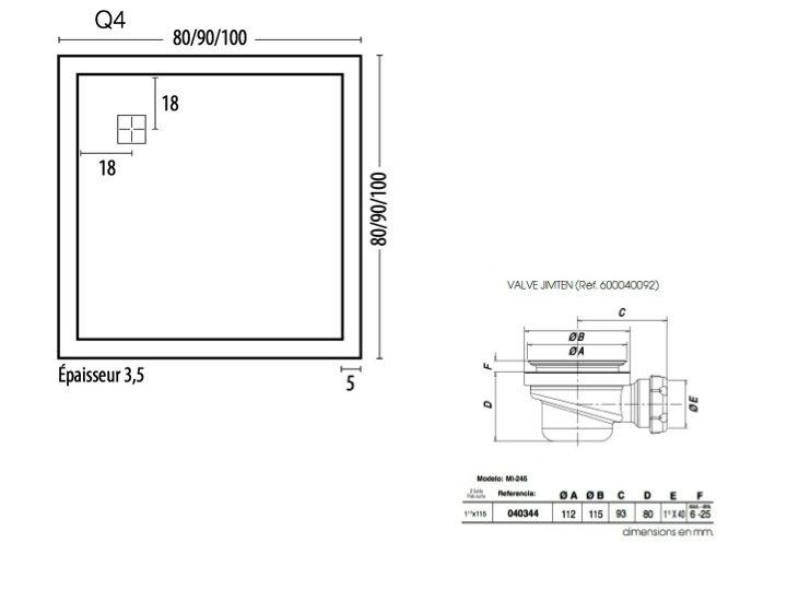 receveurs de douches longueur 80 receveur de douche carr vacuation en angle square q4. Black Bedroom Furniture Sets. Home Design Ideas