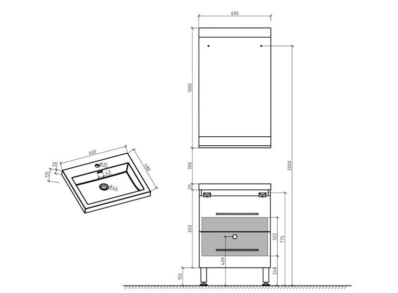 meubles lave mains robinetteries meubles sdb meuble de salle de bain sur pieds 60 cm blanc. Black Bedroom Furniture Sets. Home Design Ideas