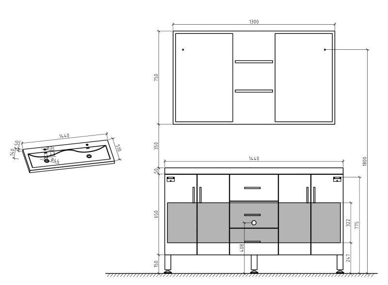 meubles lave mains robinetteries meubles sdb meuble de salle de bain 144 cm double vasque. Black Bedroom Furniture Sets. Home Design Ideas