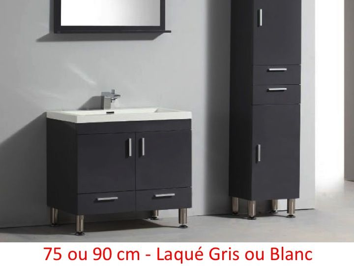 meuble salle de bain blanc et gris. Black Bedroom Furniture Sets. Home Design Ideas