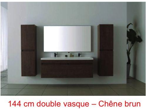 Meubles lave mains robinetteries meubles sdb meuble de salle de bain 144 cm nola 1440 - Salle de bain brun ...