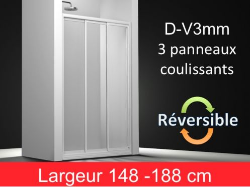 paroi de douche accessoires porte de douche fa ade 3 panneaux coulissants largeur de 148 188. Black Bedroom Furniture Sets. Home Design Ideas