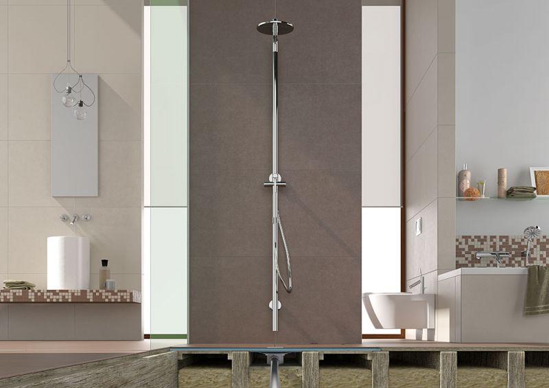 Receveurs de douches a carreler wedi receveur pour - Plancher bois salle de bain ...