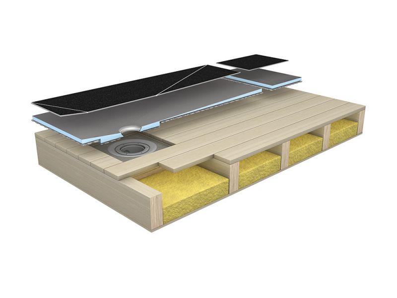 Receveur douche en bois for Plancher chauffant salle de bain