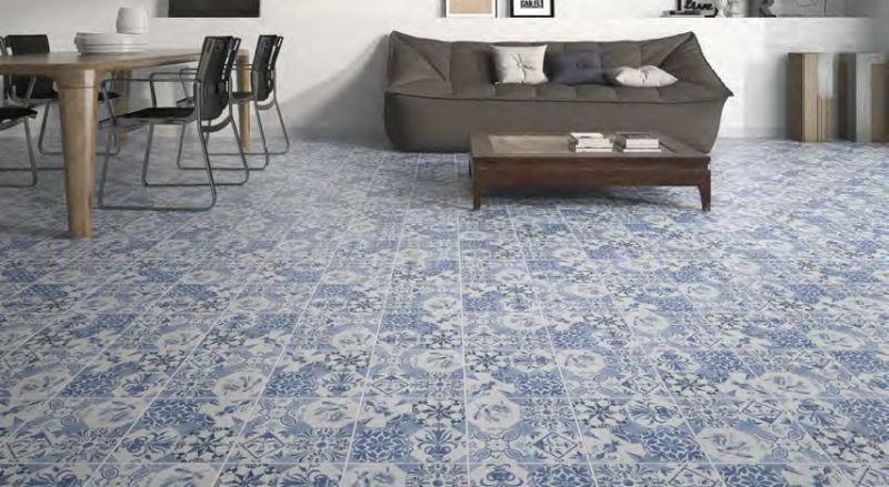 Carrelages mosa ques et galets aspect cx ciment retro - Cocinas azul tierra ...