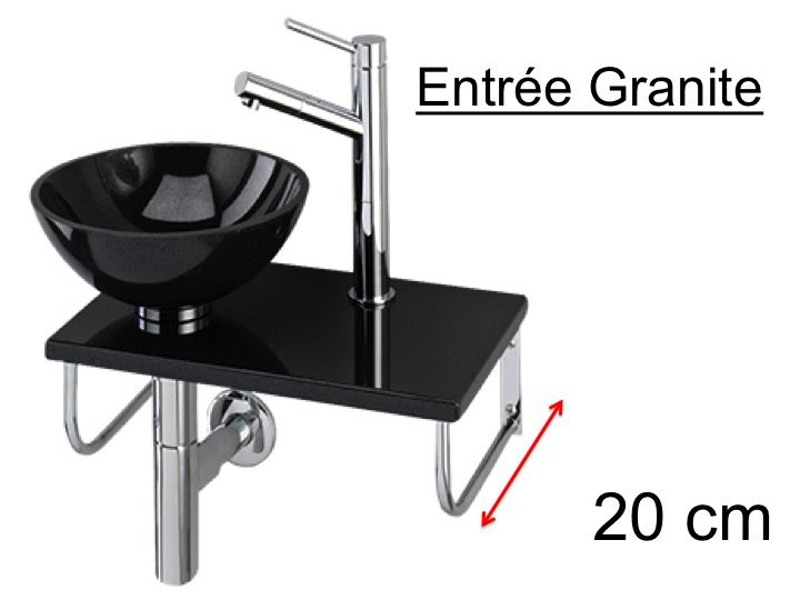 vasque lave main a poser lave-mains en granite, avec vasque ronde en granite   poser sur tablette en