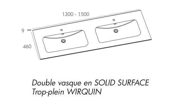 meuble salle de bain suspendu deux tiroirs de 130 cm avec double vasques - Dimention Meuble Double Vasque