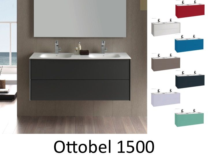 meubles lave mains robinetteries meuble teck meuble salle de bain suspendu de 150 cm avec. Black Bedroom Furniture Sets. Home Design Ideas