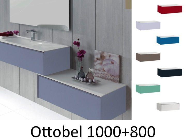 Meuble de salle de bain 180 cm deux l ments d cal s suspendus ottobel 1000 - Meuble salle de bain 180 cm ...